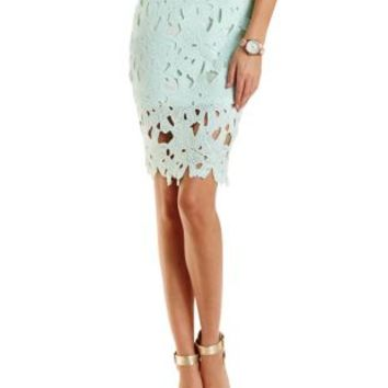 Embroidered Lace Pencil Skirt by Charlotte Russe - Mint