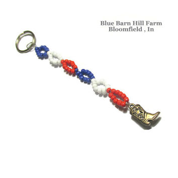 Country Girl Keychain - Beaded in Red White and Blue with a bronze cowboy boot charm - Hand crafted item 20150003