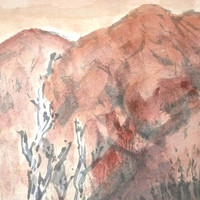 Vintage Japanese Painting Mountain in Autumn Fall in Showa Period