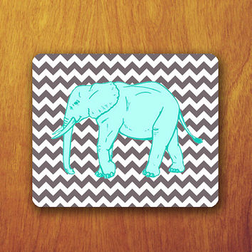 Mint Elephant Geometric Chevron Mouse PAD Grey Pattern Mousepad Mat Office Deco Desk Word Pad Personalized Pad Funny Gift Personalized mat