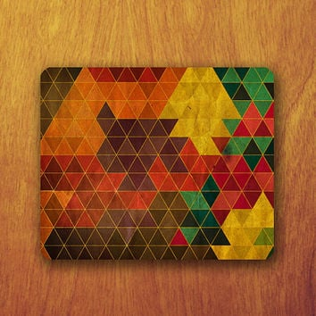 VINTAGE GEOMETRIC Mouse PAD Old Colorful Triangle Abstract Mousepad Office Deco Desk Word Pad Personalized Pad Gift