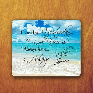 I LOVE You Forever Text Different Fonts Style Mouse PAD Slient Blue Sea Beach Mousepad Office Deco Desk Word Pad Valentine Gift