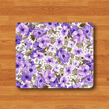 Purple Frower ART Painting Mouse Pad Mat Floral Bali Pattern MousePad Desk Deco Vintage Gift Computer Pad Personalized Office Woman Gift