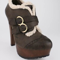 shearling lined double buckle bootie $31.70 in BLACK BROWN CAMEL - Booties | GoJane.com