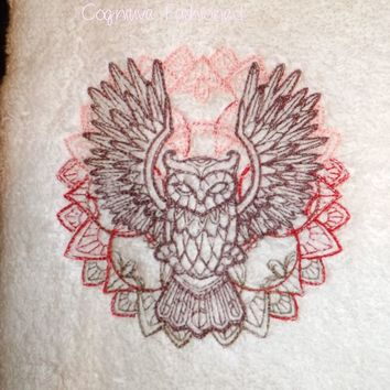 Gorgeous Wise Owl Super Soft Embroidered Hand Towel by 1888 Mills