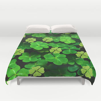 Four Leaf Clover Duvet Cover by Erika Kaisersot