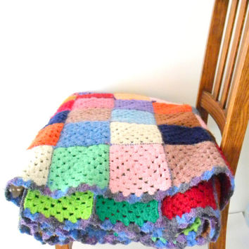 Large Vintage Handmade Colorful Crochet Throw Blanket/Afghan in Squares, Home Decor, Gift For MOM, Crocheted, Green Blue Pink Orange,