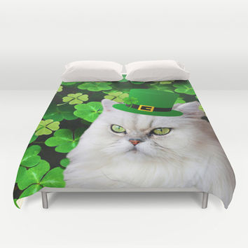 Cat and Leprechaun Hat Duvet Cover by Erika Kaisersot