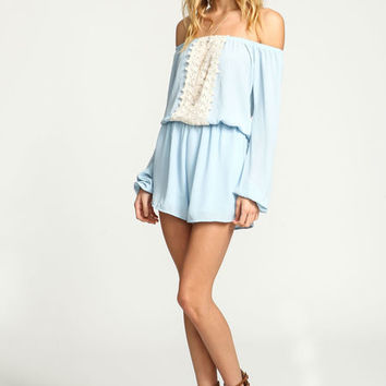 BLUE OFF SHOULDER CROCHET CREPE ROMPER