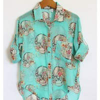 Skulls and Flowers Turquoise Blouse - Tops - My Closet