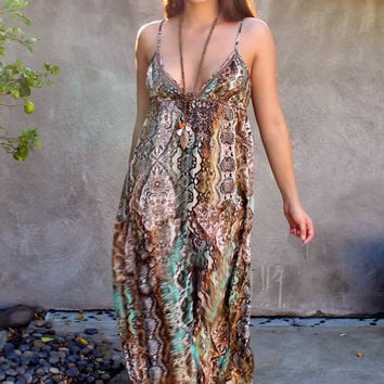Rattle Maxi Dress- Brown