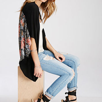 Rose Print-Paneled Cardigan
