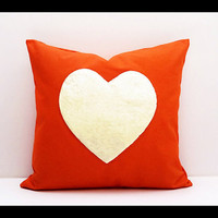 FREE SHIPPING - Rainbow Heart Collection : ONE 16x16 inch Handmade Decorative pillow Covers - Hand sewing - Orange - Make to Order -