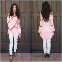 Muse Embroider Off Shoulder Tunic in Pink