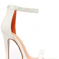 Square It Well White Studded Ankle Strap Heels