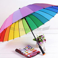 New Japan Rainbow Color Sun/Rain stick Umbrella w/24 skeletons
