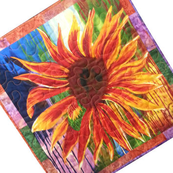 Wall Quilt Large Abstract Flower