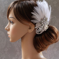 Crystal & Feather Wedding Hair Comb by spoiledpretty on Etsy
