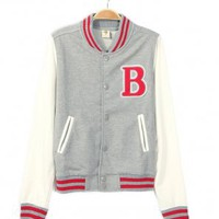 Womens Varsity Letter B Baseball Letterman Jacket Grey