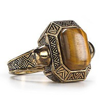 House of Harlow 1960 14KT Plated Engraved Skull Tigers Eye Cocktail Ring | Bloomingdale&#x27;s