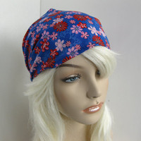 Headband Boho Head Wrap Dreadband Hippie Bandana Red Pink Flowers on Blue