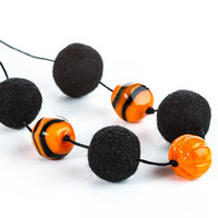 Halloween Pumpkin Necklace Black Orange Jewelry Autumn Trends Woman Fashion