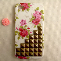 Unique iPhone 4 case cover, floral studded iPhone 4 case, vintage bronze pyramid studs iPhone 4s case,
