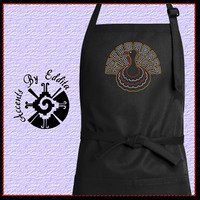 Rhinestone Thanksgiving Turkey Chefs Apron with Sparkly Bling perfect for Christmas Holidays too