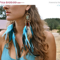 ON SALE ELERY Gypsy Wire Wrapped Raw Turquoise Gold Hoop Feather Bohemian Earthy Festival Earrings