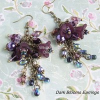 Dark Blooms Earrings with lucite flowers - by WhiteRavenDesigns on madeit
