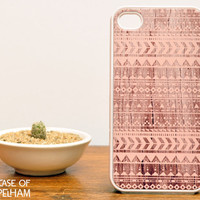 Pink Aztec iPhone Case over Wood Print - Aztec iPhone 4 Case - Pastel iPhone Case