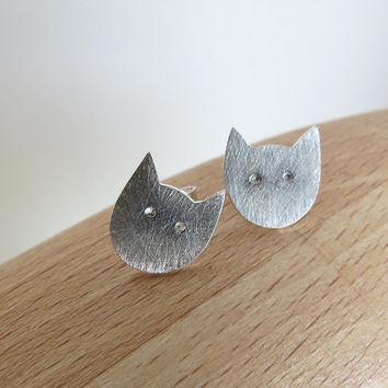 Little Cat Stud Earrings -Steling Silver Cat Earrings - Handmade Modern Jewelry