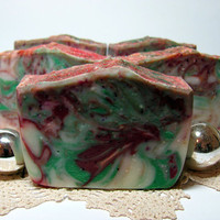 Handmade Peppermint  Soap -  Unique Gift for Christmas - Red and Green Soap - Natural Cold Process Soap