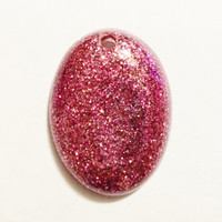 Pink Glitter Oval Pendant, Resin Pendant for Jewelry Making