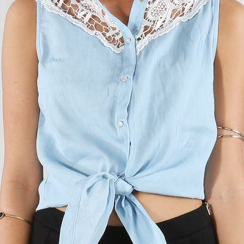 Crochet Denim Shirt