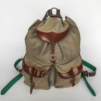 Vintage Hiking Backpack / Canvas Rucksack / Leather Straps / Olive Army Green
