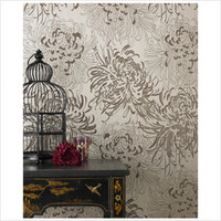 Graham &amp; Brown Chrysanthemum Gold Wallpaper | All Modern