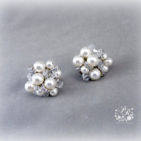 Gorgeous Swarovski Pearls & Clear Crystals Earrings Wedding Jewelry