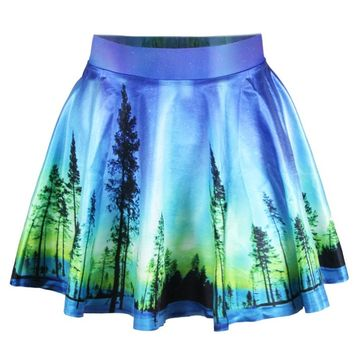 Ninimour- Women's Basic Versatile Strechy Flared Skater Skirt (Blue Galaxy)
