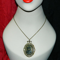 Steampunk Cameo Necklace Conjoined, Siamese Twins in Bronze Cameo setting