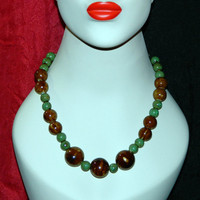 Beaded Boho Necklace Chunky Ceramic, Brown and Green on Silver Chain