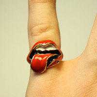 Iconic Rolling Stones Enamel Lips Ring