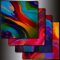 Print Set: 4 Multi Colored 12 x 12 Abstract Giclees