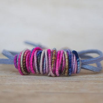 Yarn Bead Bracelet - Copper-Fiber-Bead