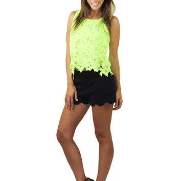 Neon Yellow Sleeveless Lace Top