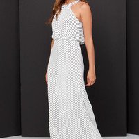 Croquet Queen Black and Ivory Striped Maxi Dress