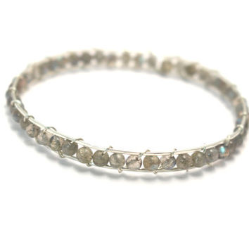 Gemstone Bangle- Sterling Silver, 14K Gold Filled, or 14K Rose Gold Filled-Genuine Labradorite