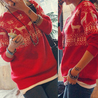 New Red Womens Cute Cartoon Deer Snow Pattern Sweater Knitting Knitwear Knit Top