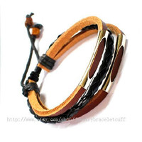 jewelry bangle leather bracelet women bracelet men bracelet made of leather and metal wrist bracelet  sh-737