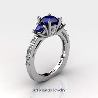 French 14K White Gold Three Stone 1.0 Carat Blue Sapphire Diamond Engagement Ring AR112-14KWGDBS